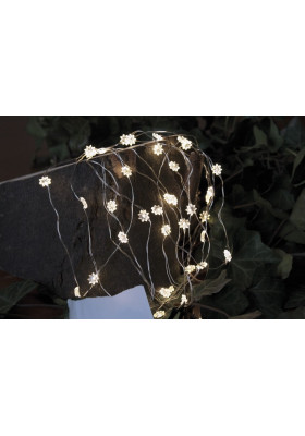 Guirlande Lumineuse 40 LEDs Fleur Fil Argenté