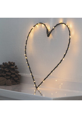 Coeur Lumineux 40 LEDs Fil Noir Liva Heart
