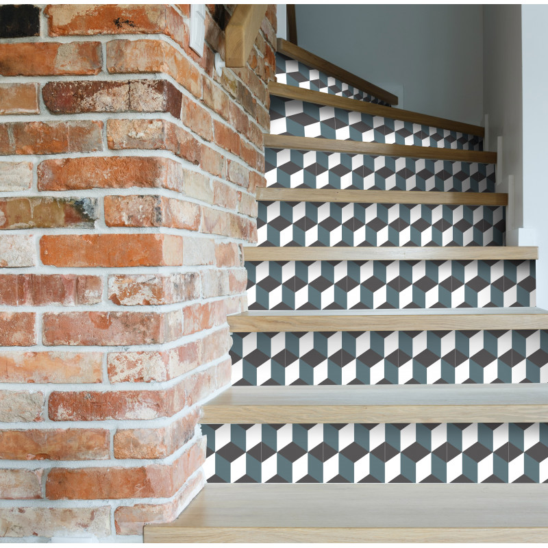 contremarches adh sives carreaux de ciment eug nie. Black Bedroom Furniture Sets. Home Design Ideas