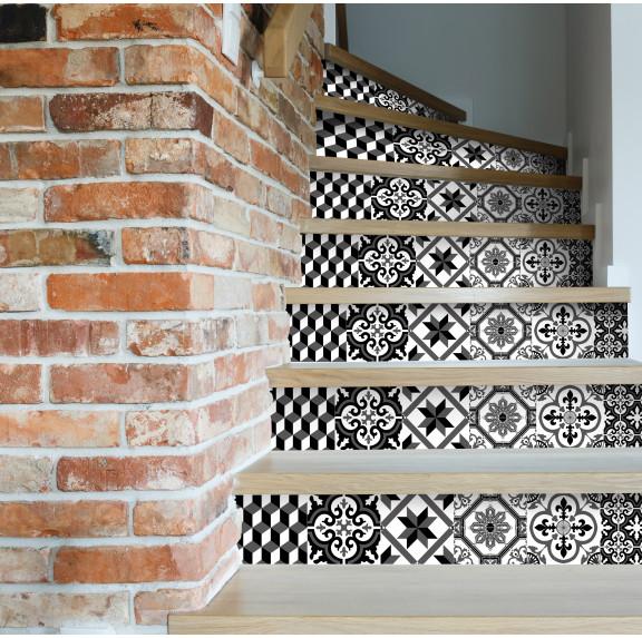 contremarches adh sives carreaux de ciment ginette. Black Bedroom Furniture Sets. Home Design Ideas