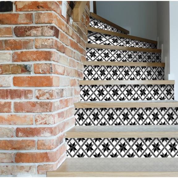 contremarches adh sives carreaux de ciment marguerite. Black Bedroom Furniture Sets. Home Design Ideas