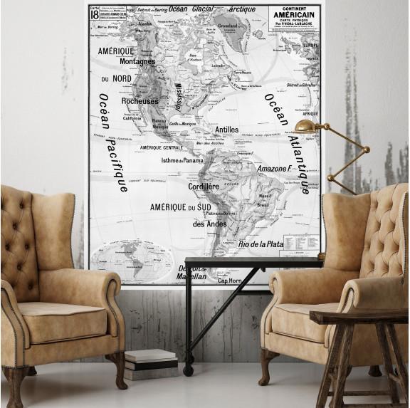 Carte Scolaire Murale Vidal Lablache n°18 - Continent Américain - Ciment Factory
