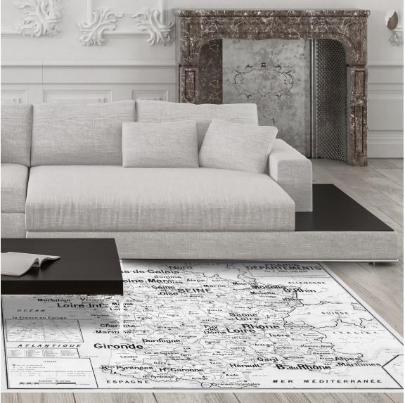 Tapis Vinyle Carte Scolaire Vidal Lablache n°4 - France - Départements - Ciment Factory