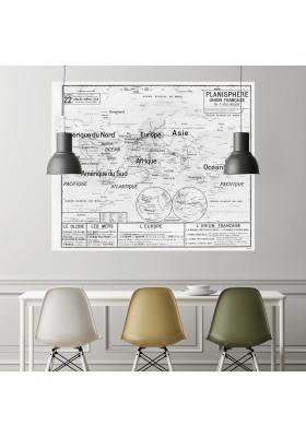Carte Scolaire Murale Vidal Lablache n°22 - Planisphère - Ciment Factory