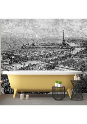 Papier Peint Panoramique - Gravure - Paris 1900 - Ciment Factory