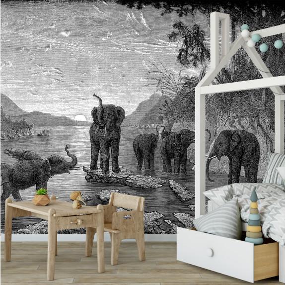 Papier Peint Panoramique - Gravure - Les Eléphants - Ciment Factory