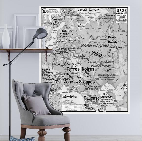 Carte Scolaire Murale Vidal Lablache n°34 - URSS et Finlande - Ciment Factory