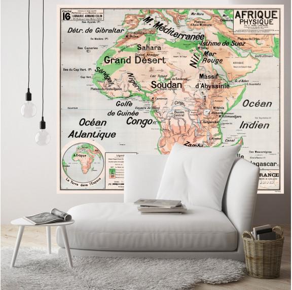 Carte Scolaire Murale Vidal Lablache n°16 - Afrique Physique - Original - Ciment Factory