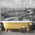 Papier Peint Panoramique Sur mesure - Gravure - Paris 1900