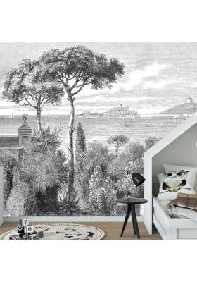 Papier Peint Panoramique Sur Mesure - Gravure - Sicile