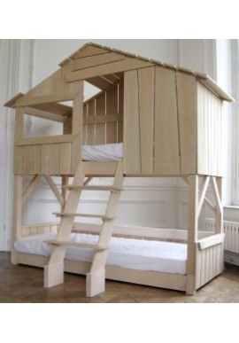 Lit Cabane Enfant Superposé Tilleul Massif Brut - Mathy by Bols